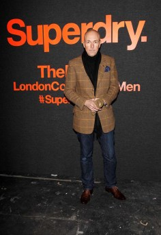 LONDON, ENGLAND - JANUARY 07: Dylan Jones arrives at the Superdry AW14 catwalk event as part of London Collections: Men at The Old Sorting Office on January 7, 2014 in London, England. (Photo by David M. Benett/Getty Images for Superdry) *** Local Caption *** Dylan Jones