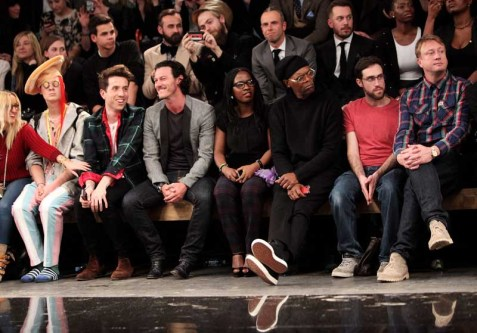 LONDON, ENGLAND - JANUARY 07: (L to R) Aimee Phillips, Ian Chaloner, Nick Grimshaw, Luke Evans, Sofia Davis, Samuel L. Jackson, Beardyman and Adam Dewhurst sit in the front row during the Superdry AW14 catwalk event as part of London Collections: Men at The Old Sorting Office on January 7, 2014 in London, England. (Photo by David M. Benett/Getty Images for Superdry) *** Local Caption *** Aimee Phillips; Ian Chaloner; Nick Grimshaw; Luke Evans; Sofia Davis; Samuel L. Jackson; Beardyman; Adam Dewhurst