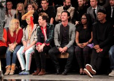 LONDON, ENGLAND - JANUARY 07: (L to R) Aimee Phillips, Ian Chaloner, Nick Grimshaw, Luke Evans, Sofia Davis and Samuel L. Jackson sit in the front row during the Superdry AW14 catwalk event as part of London Collections: Men at The Old Sorting Office on January 7, 2014 in London, England. (Photo by David M. Benett/Getty Images for Superdry) *** Local Caption *** Aimee Phillips; Ian Chaloner; Nick Grimshaw; Luke Evans; Sofia Davis; Samuel L. Jackson