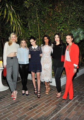 Actresses Jaime King, Emma Roberts and Zoey Deutch, Sandro designer Evelyne Chetrite and actresses Emmy Rossum and Annabelle Wallis