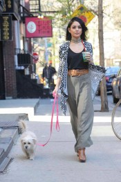 -New York, NY - 04/27/2015 - Vanessa Hudgens goes for an afternoon juice run with her dog. She looks great in her little black top, choker necklace and Bongo belted crepe maxi skirt and Bong tribal print waterfall cardigan. -PICTURED: Vanessa Hudgens -PHOTO by: Michael Simon/startraksphoto.com -MS_261051 Editorial - Rights Managed Image - Please contact www.startraksphoto.com for licensing fee Startraks Photo New York, NY For licensing please call 212-414-9464 or email sales@startraksphoto.com Startraks Photo reserves the right to pursue unauthorized users of this image. If you violate our intellectual property you may be liable for actual damages, loss of income, and profits you derive from the use of this image, and where appropriate, the cost of collection and/or statutory damages.