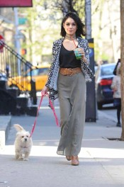 -New York, NY - 04/27/2015 - Vanessa Hudgens goes for an afternoon juice run with her dog. She looks great in her little black top, choker necklace and Bongo belted crepe maxi skirt and Bong tribal print waterfall cardigan. -PICTURED: Vanessa Hudgens -PHOTO by: Michael Simon/startraksphoto.com -MS_261064 Editorial - Rights Managed Image - Please contact www.startraksphoto.com for licensing fee Startraks Photo New York, NY For licensing please call 212-414-9464 or email sales@startraksphoto.com Startraks Photo reserves the right to pursue unauthorized users of this image. If you violate our intellectual property you may be liable for actual damages, loss of income, and profits you derive from the use of this image, and where appropriate, the cost of collection and/or statutory damages.