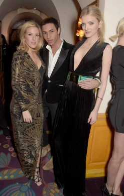 LONDON, ENGLAND - MARCH 16: Ellie Goulding, Olivier Rousteing and Lily Donaldson attend a dinner hosted by Olivier Rousteing, to mark the opening of Balmain's first London store, at Ann abel's on March 16, 2015 in London, England. (Photo by David M. Benett/Getty Images for Balmain) *** Local Caption *** Ellie Goulding; Olivier Rousteing; Lily Donaldson