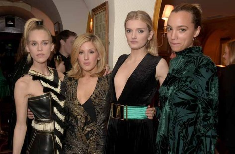 LONDON, ENGLAND - MARCH 16: Lady Mary Charteris, Ellie Goulding, Lily Donaldson and Phoebe Collings-James attend a dinner hosted by Olivier Rousteing, to mark the opening of Balmain's first London store, at Annabel's on March 16, 2015 in London, England. (Photo by David M. Benett/Getty Images for Balmain) *** Local Caption *** Mary Charteris; Ellie Goulding; Lily Donaldson; Phoebe Collings-James