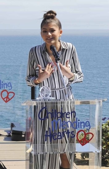 MALIBU, CA - JUNE 14: Actress Zendaya Coleman receives an award at Children Mending Hearts 7th Annual Fundraiser Presented By Material Girl And Michael Stars on June 14, 2015 in Malibu, California. (Photo by Vivien Killilea/Getty Images for Children Mending Hearts)