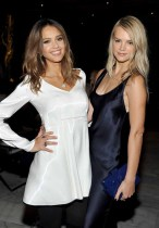 LOS ANGELES, CA - JANUARY 13: Actress Jessica Alba (L) and model Kelly Sawyer attend the Galvan For Opening Ceremony Dinner Hosted By Swarovski at Private Residence on January 13, 2016 in Los Angeles, California. (Photo by Donato Sardella/Getty Images for Galvan)