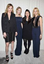 LOS ANGELES, CA - JANUARY 13: (L-R) Galvan's Sola Harrison and Anna-Christin Haas, designer Carol Lim, and Galvan's Katherine Holmgren attend the Galvan For Opening Ceremony Dinner Hosted By Swarovski at Private Residence on January 13, 2016 in Los Angeles, California. (Photo by Donato Sardella/Getty Images for Galvan)