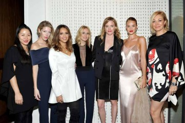 LOS ANGELES, CA - JANUARY 13: (L-R) Designer Rosie Huntington-Whiteley, Galvan's Anna-Christin Haas, actress Jessica Alba, Galvan's Katherine Holmgren and Sola Harrison, model/actress Rosie Huntington-Whiteley, and Nadja Swarovski attend the Galvan For Opening Ceremony Dinner Hosted By Swarovski at Private Residence on January 13, 2016 in Los Angeles, California. (Photo by Donato Sardella/Getty Images for Galvan)