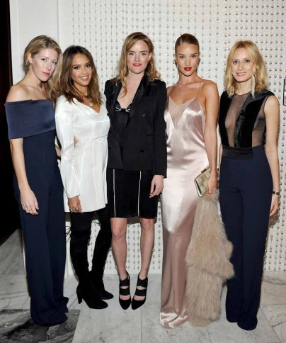 LOS ANGELES, CA - JANUARY 13: (L-R) Galvan's Anna-Christin Haas, actress Jessica Alba, Galvan's Sola Harrison, model/actress Rosie Huntington-Whiteley, and Galvan's Katherine Holmgren attend the Galvan For Opening Ceremony Dinner Hosted By Swarovski at Private Residence on January 13, 2016 in Los Angeles, California. (Photo by Donato Sardella/Getty Images for Galvan)