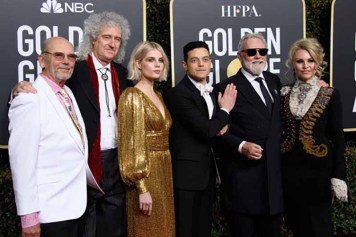 Brian May (2nd L), Lucy Boynton (3rd L), Golden Globe nominee Rami Malek (3rd R), and Roger Taylor