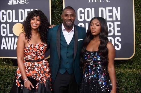 Sabrina Dhowr, Golden Globe presenter Idris Elba and Miss Golden Globe Isan Elba