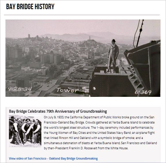 San Francisco-Oakland Bay Bridge Celebrates 79th Anniversary of Groundbreaking