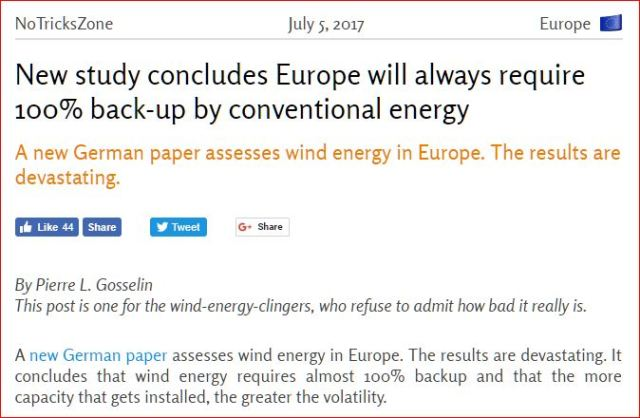 Wind-turbines fail: Germany (Europe, that is): Energy generation from wind will always require 100% back-up from conventional sources