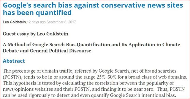 An analysis of the prevalence of Google Search bias