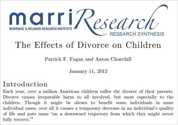 Divorce affects children and causes increased youth criminality and incarceration.