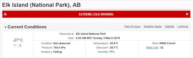 Temperature measurement at Elk Island National Park
