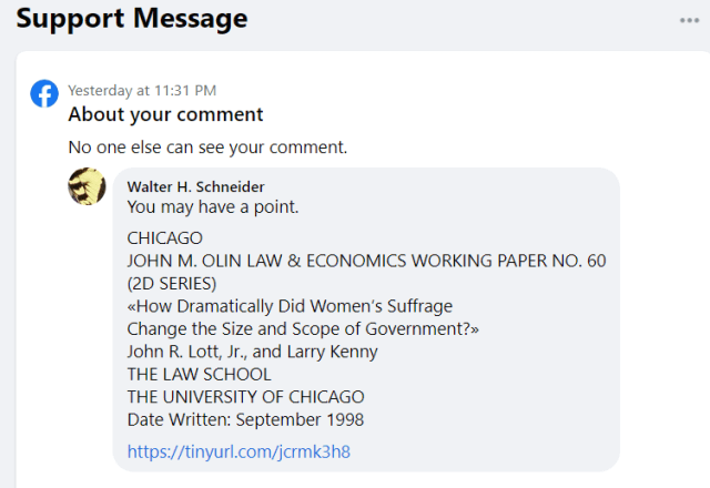 FB cesorship in the guise of a support message