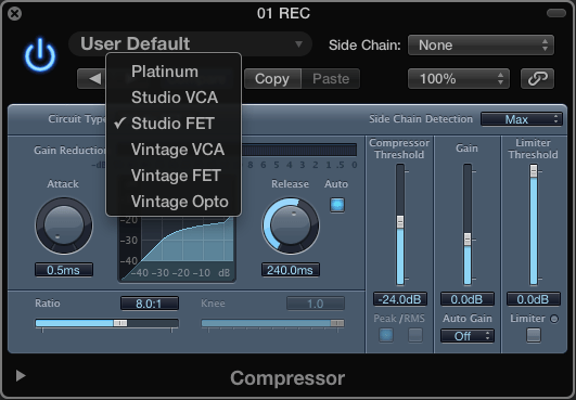 Logic Pro built-in compressor