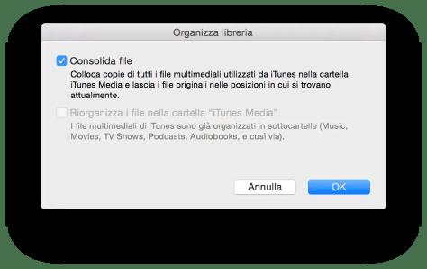 Consolidare la libreria di iTunes