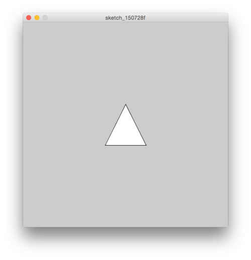 how to change the size of triangle in processing