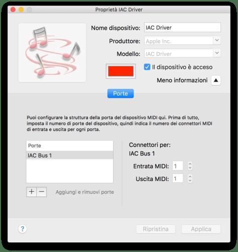 mac OS accendere IAC Driver