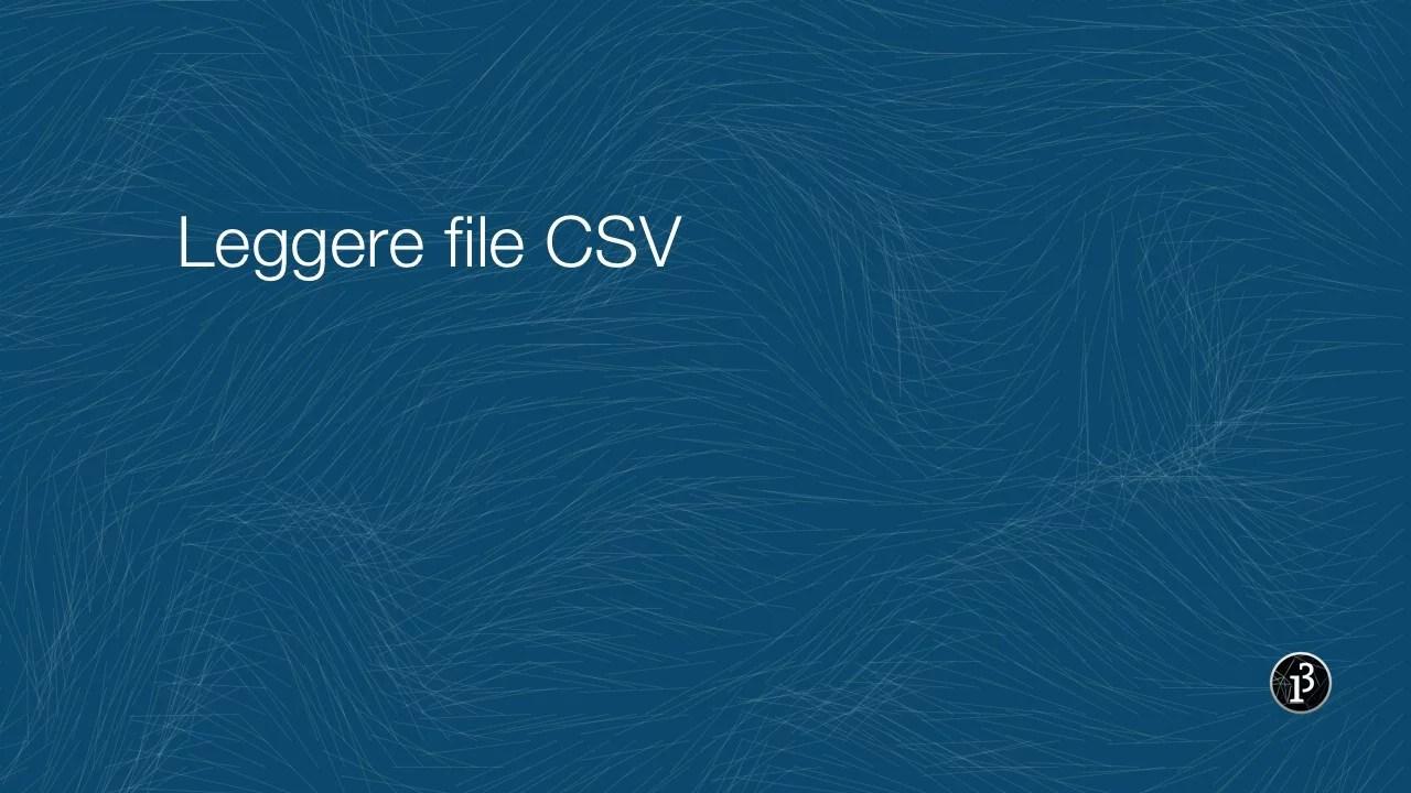 Leggere file CSV in Processing
