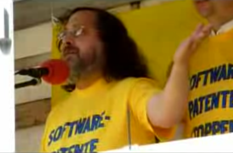 Richard Stallman and Hartmut Pilch educate about Software Patents