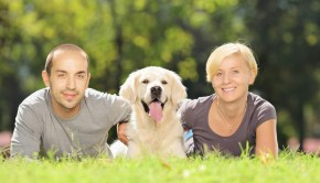 Smiling young couple lying on a grass and hugging a dog in a par