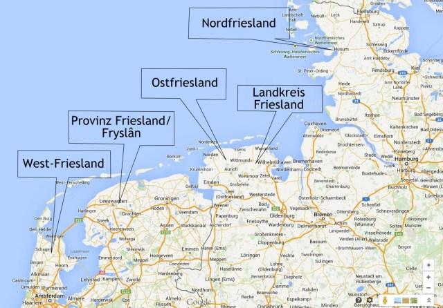 Karte Ostfriesland Friesland