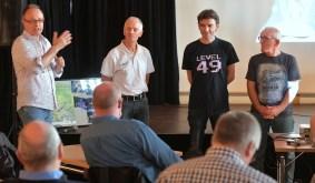 Vorstellungsrunde mit (von links) mir, Andreas Brandhorst, Uwe Post und Uwe Hermann. Kai Hirdt steckte noch im Stau. Foto: K. Ortgies