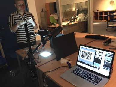 Noemi Daugaard, PhD student and author of this blog post, with the camera set-up. on the first