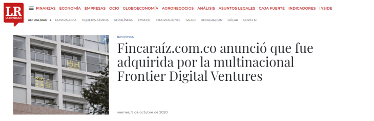 Noticia de la adquisición de la multi nacional Frontiner Digital Ventures