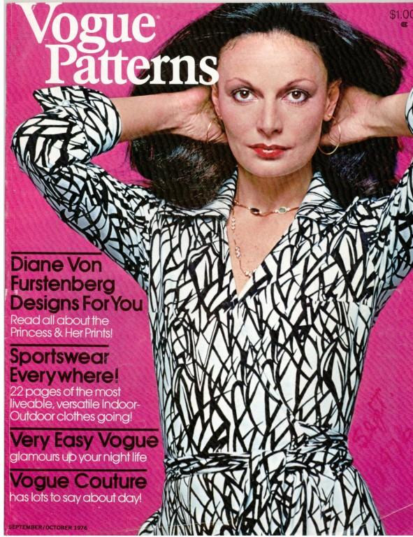 Diane von Furstenberg on the cover of Vogue Patterns magazine, September/October 1976