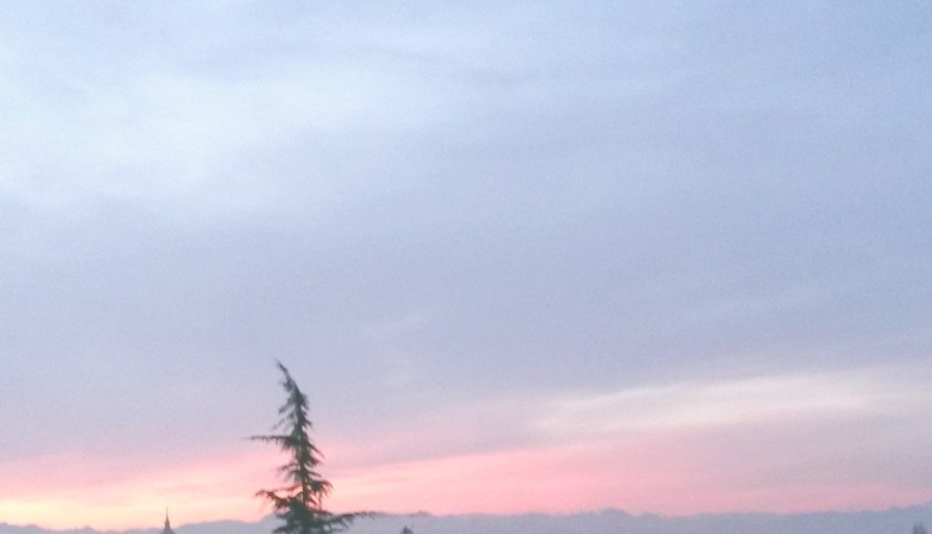 Sicht über Zürich-Fluntern mit Abendhimmel