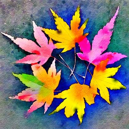 Waterlogue Leaf Wreath