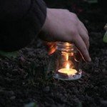 Candles inside a polytunnel