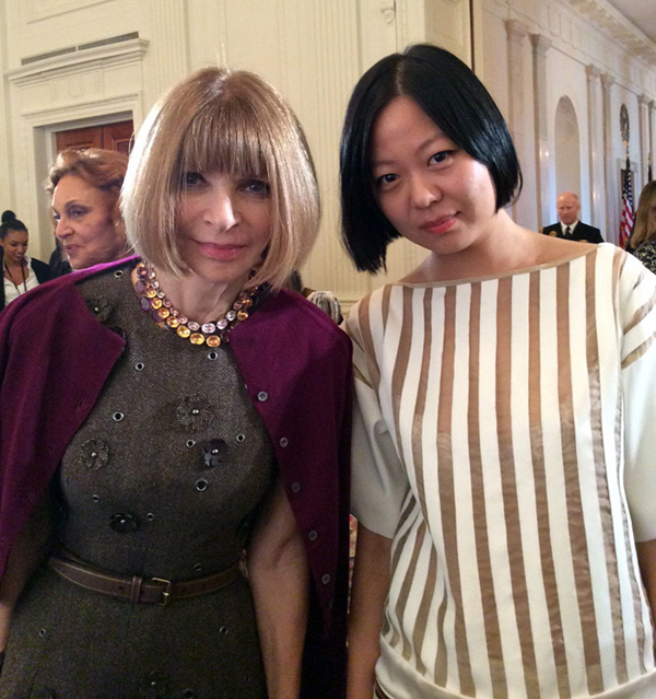 Anna Wintour, editor-in-chief of Vogue magazine with Chelsea Chen