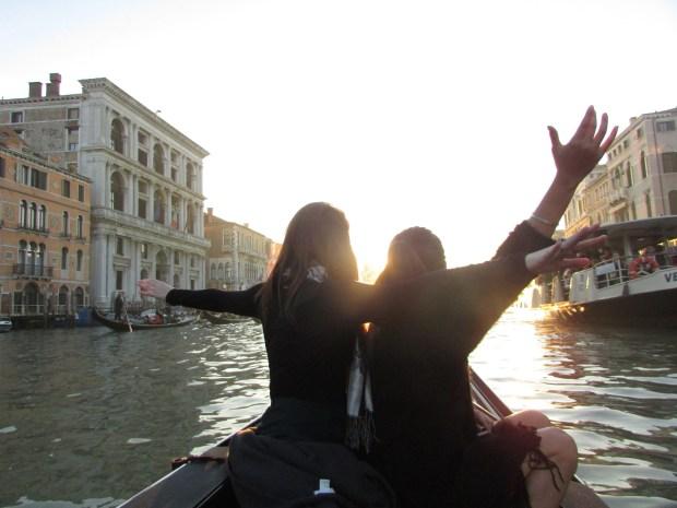 Ephie and Ana having a Titanic moment on their gondola.