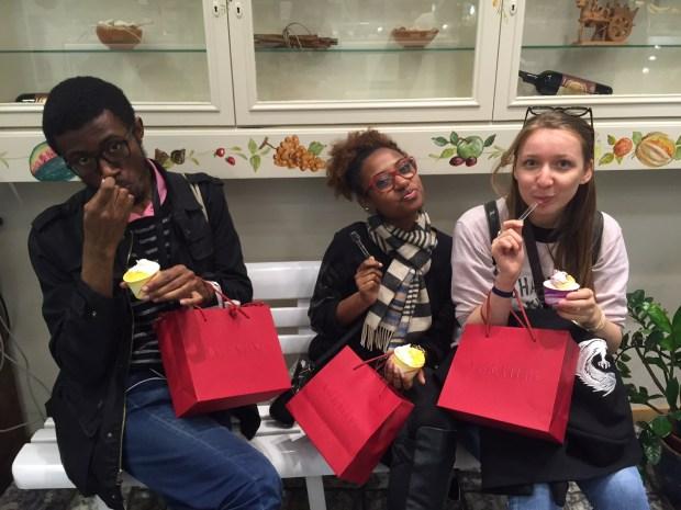 Neville, Typhani, and Olga enjoying their gelato.