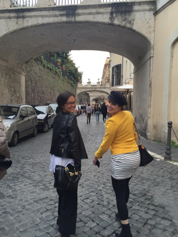 Ana and Paige strolling along the streets of Rome.