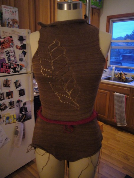 very preliminery stages of bodysuit (that red is just waste yarn and will be removed).