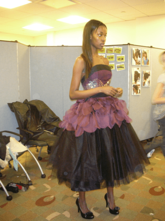 Fitting the model in my dress