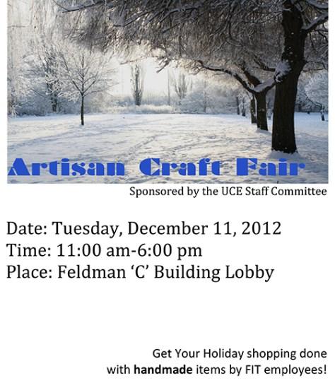 UCE at FIT Artisan Craft Blog Flyer 2012