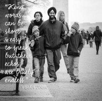 Sikh family walking along a street