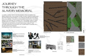 drawings of various slavery memorials around the world