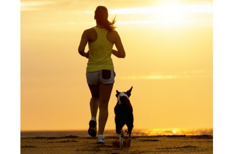 Woman and dog running toward the sun on summer beach in a beautiful golden sunset. Sport girl and her pet training together.