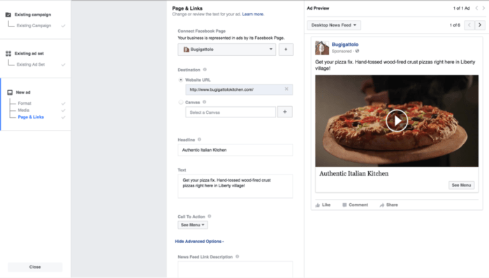 Add links text to Video Facebook Ad