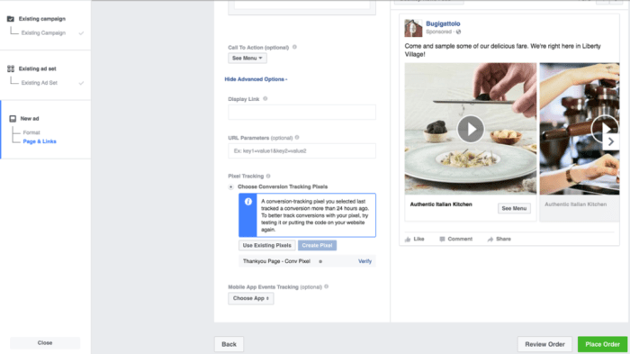 Place Order Carousel Facebook Ads