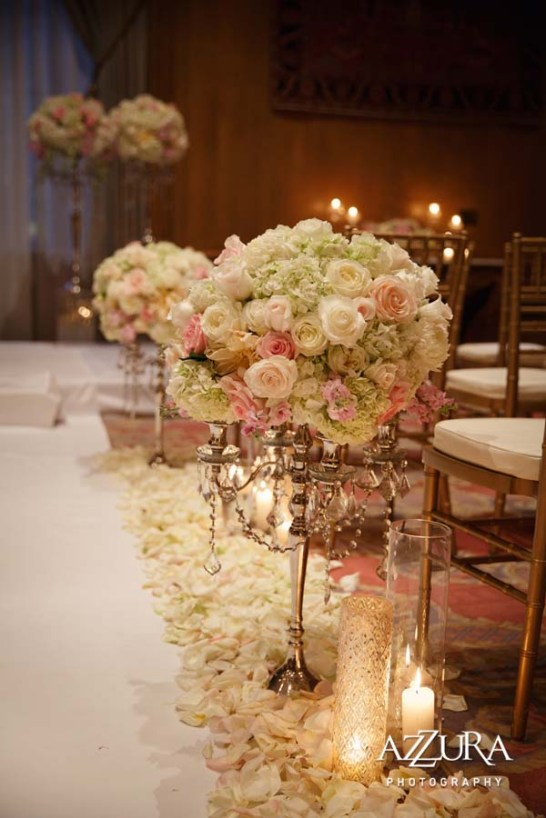 Luxurious aisle decor for Cara & Jeff's wedding ceremony