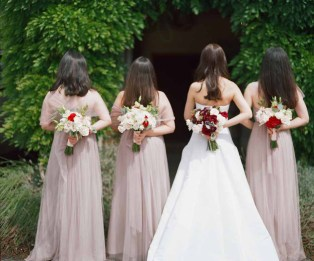 Winery Wedding, Bride and Bridesmaids, Pink Bridesmaid Dress Burgundy and Cream Bridal Bouquet